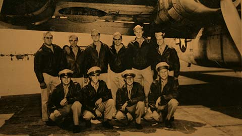 Dan Illerich with his B-24 Liberator bomber crew -